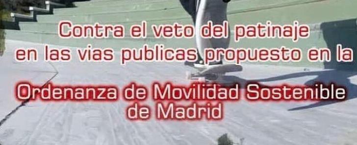 Concentración contra la prohibición de patinar en Madrid